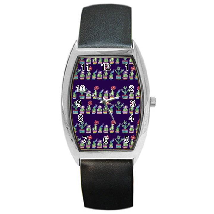 Cute Cactus Blossom Barrel Style Metal Watch