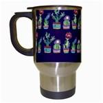 Cute Cactus Blossom Travel Mugs (White) Left