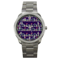 Cute Cactus Blossom Sport Metal Watch by DanaeStudio
