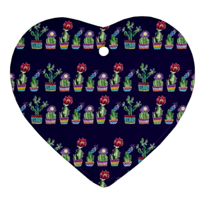 Cute Cactus Blossom Heart Ornament (2 Sides)