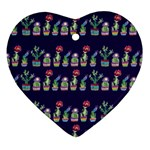 Cute Cactus Blossom Heart Ornament (2 Sides) Back