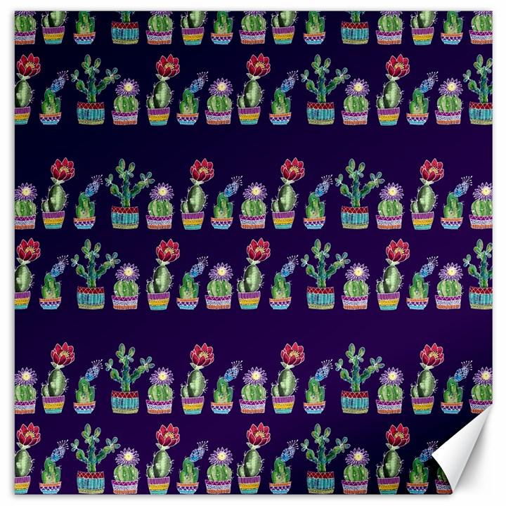 Cute Cactus Blossom Canvas 12  x 12