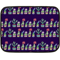 Cute Cactus Blossom Double Sided Fleece Blanket (mini)  by DanaeStudio