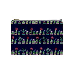 Cute Cactus Blossom Cosmetic Bag (medium)  by DanaeStudio