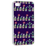 Cute Cactus Blossom Apple iPhone 4/4s Seamless Case (White) Front