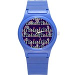 Cute Cactus Blossom Round Plastic Sport Watch (S) Front