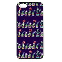 Cute Cactus Blossom Apple Iphone 5 Seamless Case (black) by DanaeStudio