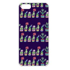 Cute Cactus Blossom Apple Iphone 5 Seamless Case (white) by DanaeStudio