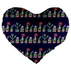 Cute Cactus Blossom Large 19  Premium Heart Shape Cushions by DanaeStudio