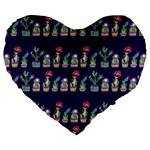 Cute Cactus Blossom Large 19  Premium Heart Shape Cushions Front
