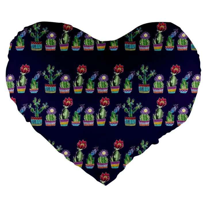 Cute Cactus Blossom Large 19  Premium Heart Shape Cushions