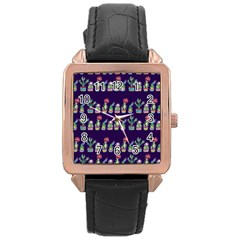 Cute Cactus Blossom Rose Gold Leather Watch  by DanaeStudio
