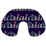 Cute Cactus Blossom Travel Neck Pillows Front