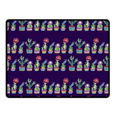 Cute Cactus Blossom Double Sided Fleece Blanket (small)  by DanaeStudio