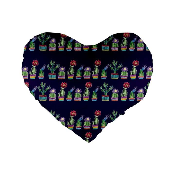 Cute Cactus Blossom Standard 16  Premium Flano Heart Shape Cushions