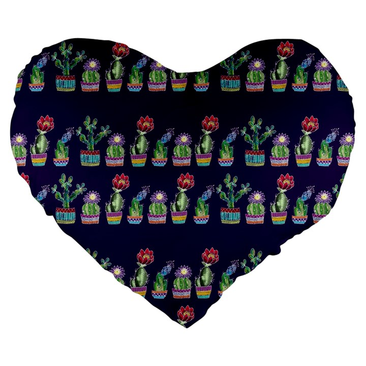 Cute Cactus Blossom Large 19  Premium Flano Heart Shape Cushions