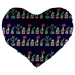 Cute Cactus Blossom Large 19  Premium Flano Heart Shape Cushions Back