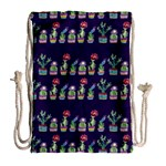 Cute Cactus Blossom Drawstring Bag (Large) Back