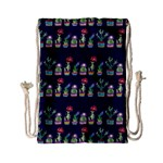 Cute Cactus Blossom Drawstring Bag (Small) Front