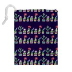 Cute Cactus Blossom Drawstring Pouches (Extra Large) Back