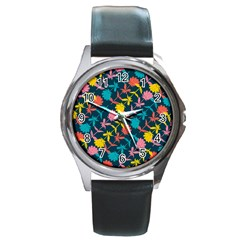 Colorful Floral Pattern Round Metal Watch by DanaeStudio
