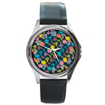 Colorful Floral Pattern Round Metal Watch Front