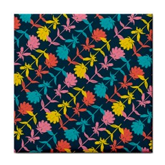 Colorful Floral Pattern Tile Coasters by DanaeStudio