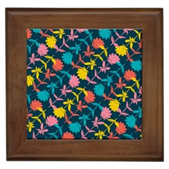 Colorful Floral Pattern Framed Tiles by DanaeStudio