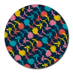 Colorful Floral Pattern Round Mousepads