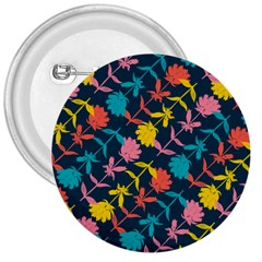 Colorful Floral Pattern 3  Buttons