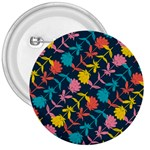 Colorful Floral Pattern 3  Buttons Front