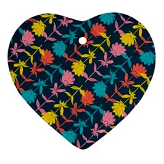 Colorful Floral Pattern Ornament (Heart)