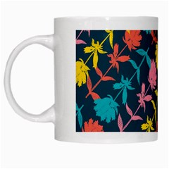 Colorful Floral Pattern White Mugs