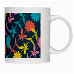 Colorful Floral Pattern White Mugs Right