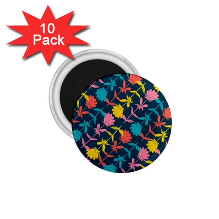Colorful Floral Pattern 1.75  Magnets (10 pack)