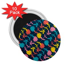 Colorful Floral Pattern 2 25  Magnets (10 Pack)