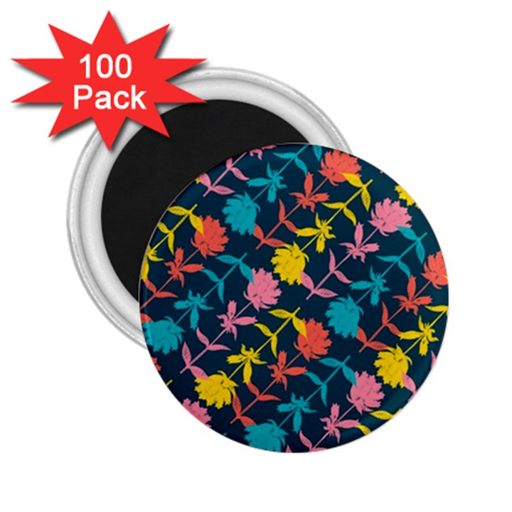 Colorful Floral Pattern 2.25  Magnets (100 pack)