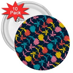 Colorful Floral Pattern 3  Buttons (10 pack)