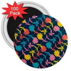 Colorful Floral Pattern 3  Magnets (100 pack)