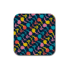 Colorful Floral Pattern Rubber Coaster (square)  by DanaeStudio