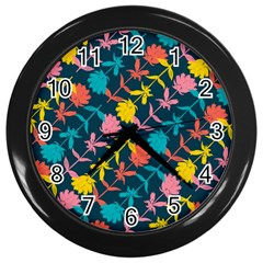 Colorful Floral Pattern Wall Clocks (black) by DanaeStudio