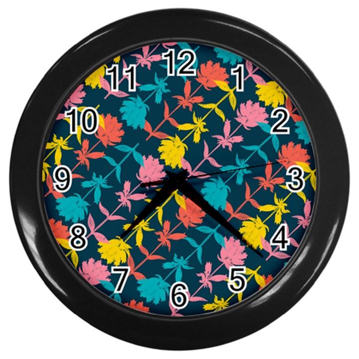 Colorful Floral Pattern Wall Clocks (Black)