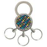 Colorful Floral Pattern 3-Ring Key Chains Front