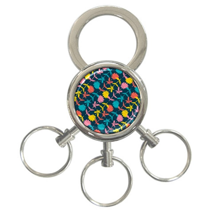 Colorful Floral Pattern 3-Ring Key Chains