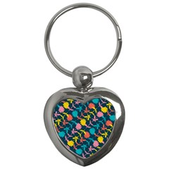Colorful Floral Pattern Key Chains (Heart)