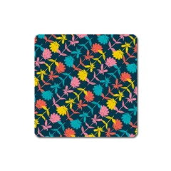 Colorful Floral Pattern Square Magnet by DanaeStudio
