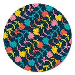 Colorful Floral Pattern Magnet 5  (Round)