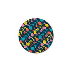 Colorful Floral Pattern Golf Ball Marker