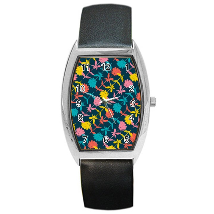 Colorful Floral Pattern Barrel Style Metal Watch