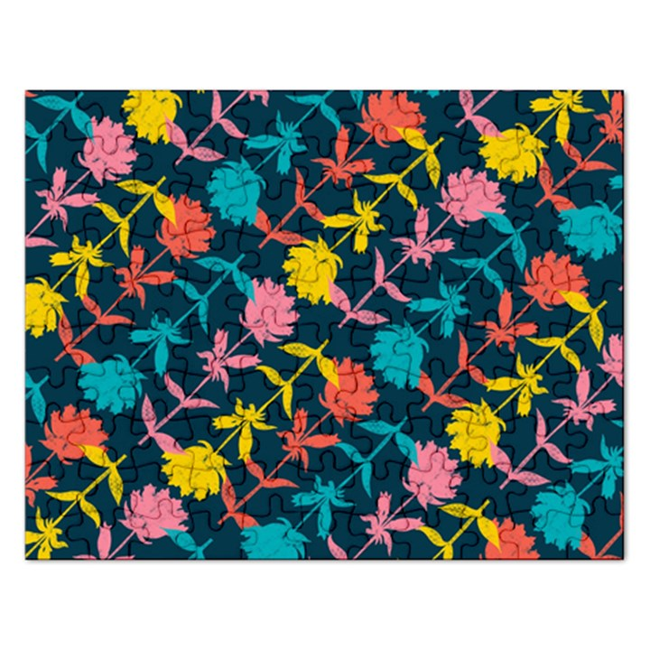 Colorful Floral Pattern Rectangular Jigsaw Puzzl